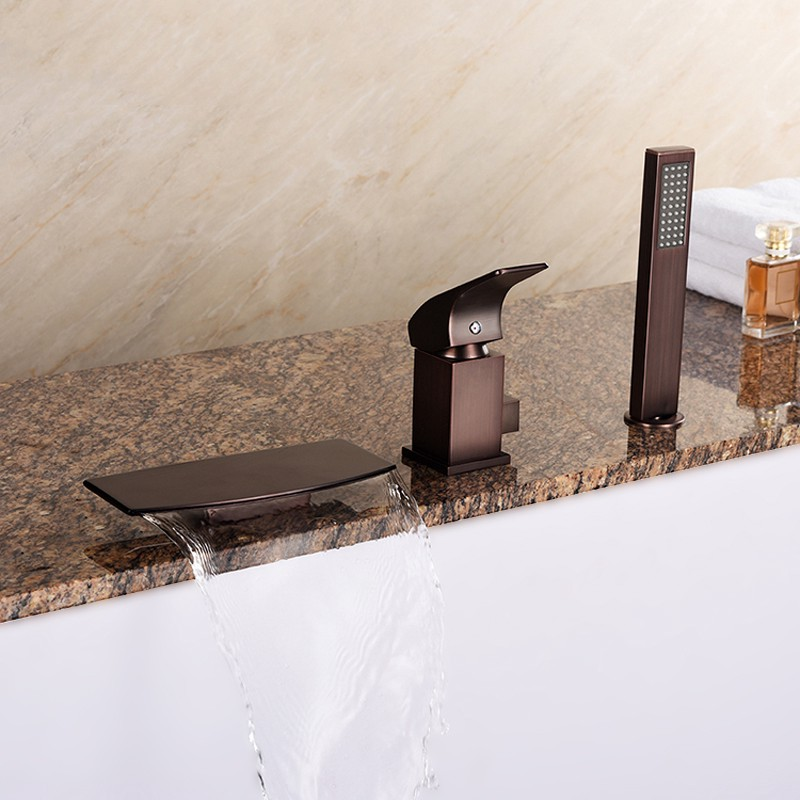 Waterfall Deck Mounted Oil Rubbed Bronze Roman Tub Faucet Solid Br With Hand Shower