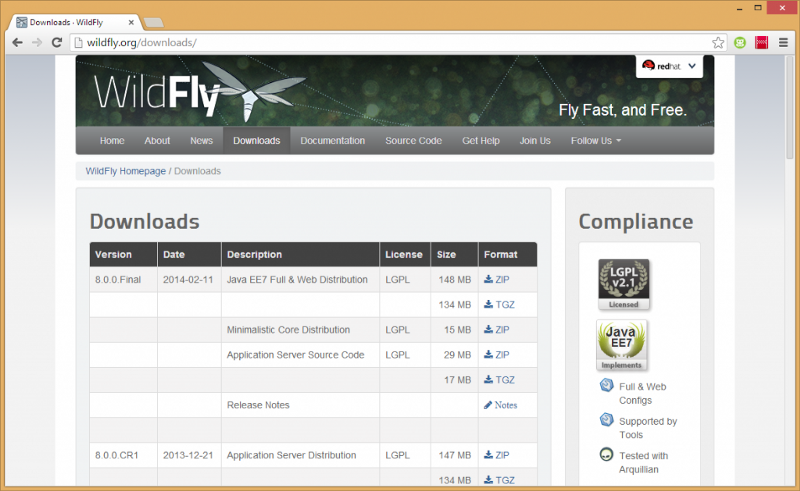 WildFly 8 - Download