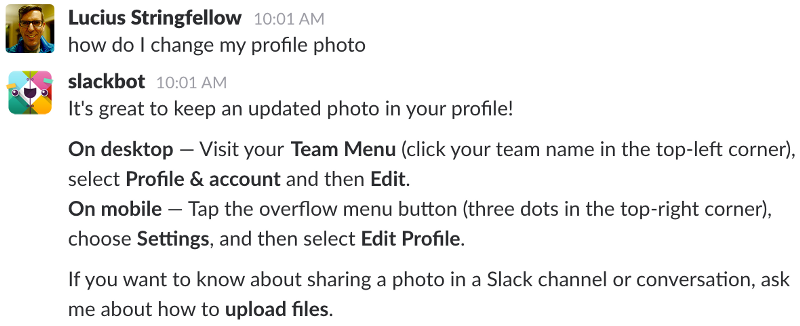 slackbot helping user