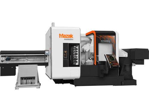 A Mazak Integrex I-150 Machining Center. Very cool. Much orange. So advance.
