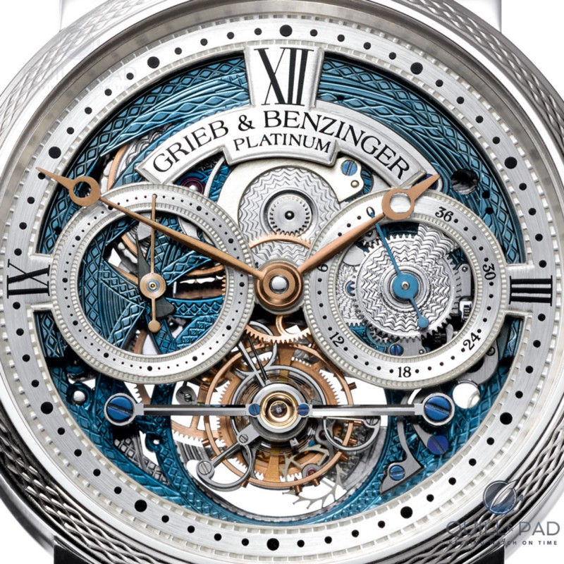 Intricately skeletonized and engraved dial of the Grieb & Benzinger Blue Merit