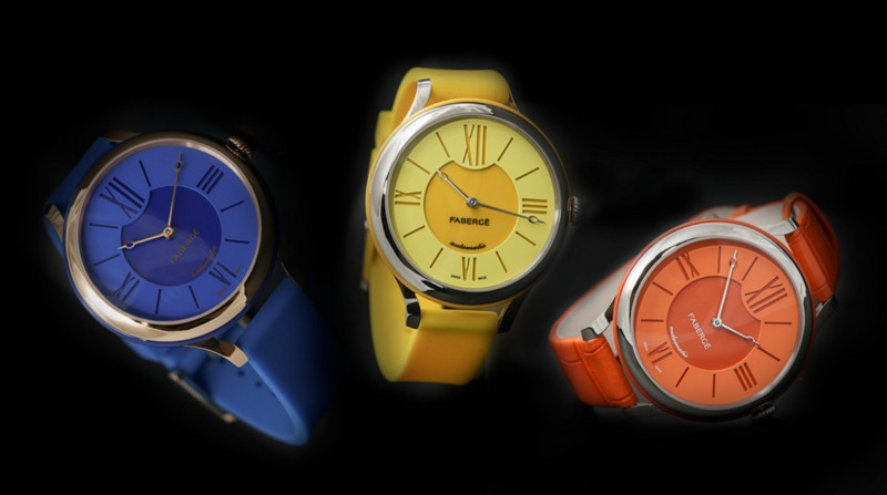 Lady Fabergé 36 mm in the happy colors of blue yellow and ora