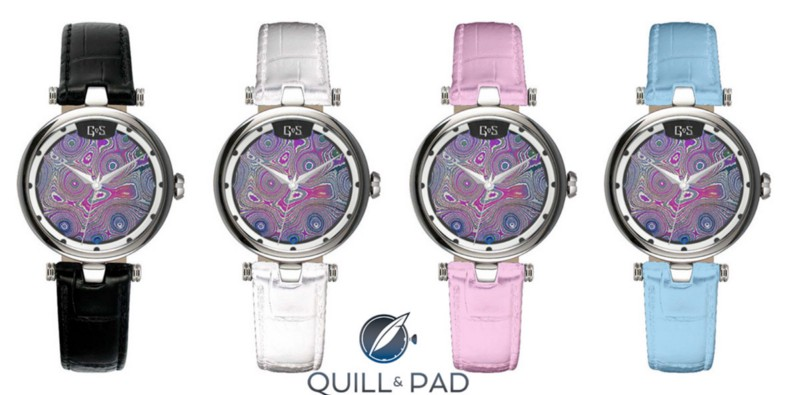 The Gustaffson & Sjögren (GoS) Sarek Ladies' watch comes on a choice of moose strap or a variety of pastel-colored calfskin straps