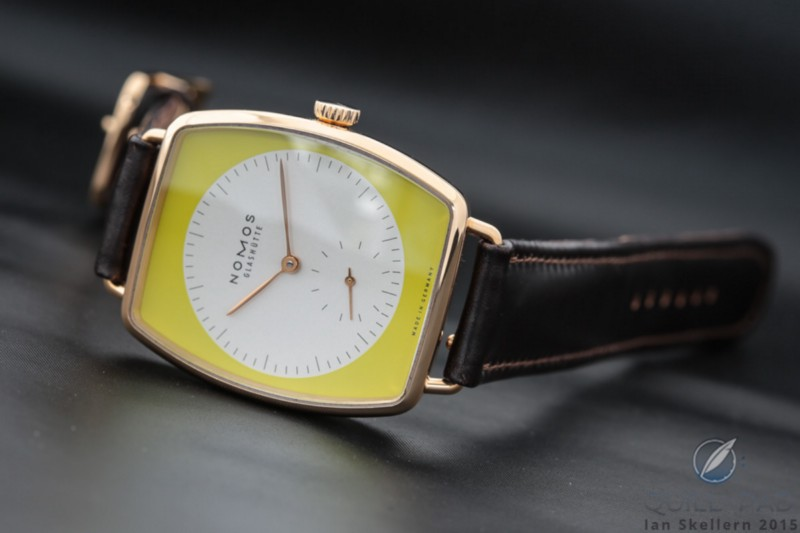 The Nomos Glashütte Lux housed in a pink gold case