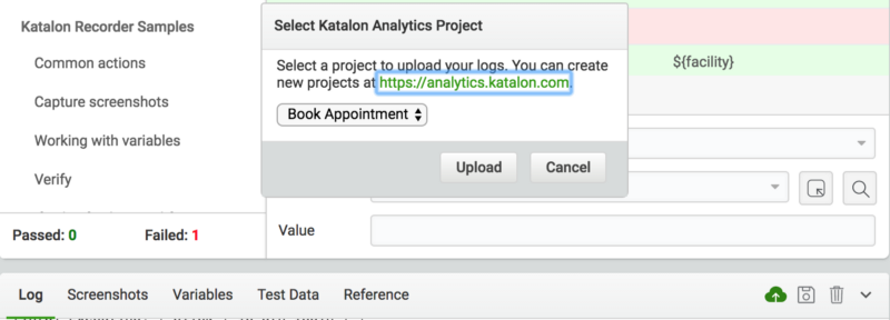 import test logs Katalon Analytics
