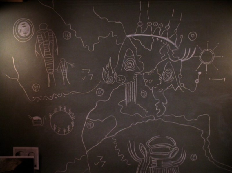 the owl map drawn on a blackboard