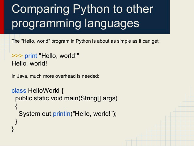 comparing python to other programming languages