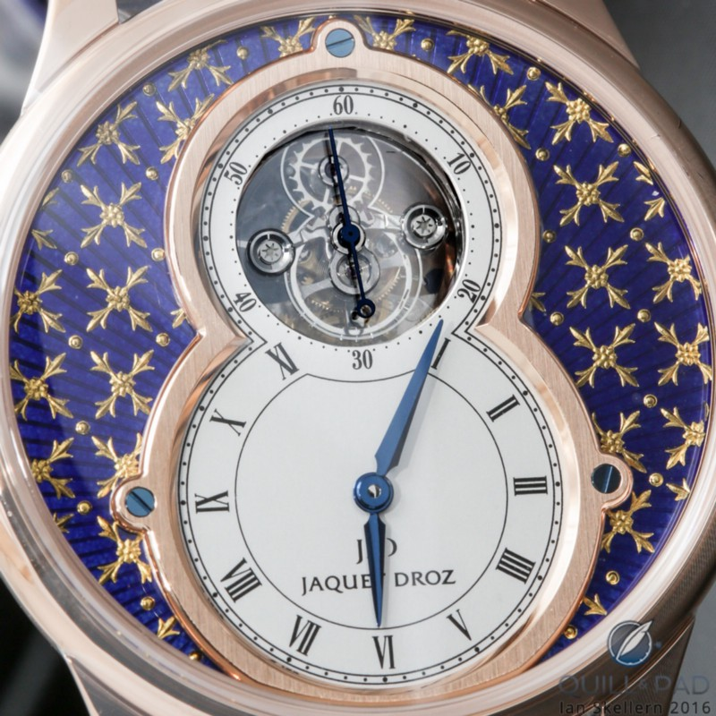 Close up look at the dial of the Jaquet Droz Petite Hour Minute Tourbillon Paillonnée