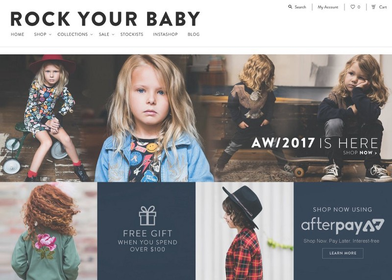 Rock Your Baby header with pictures of fashionable babies and a cta to shop now