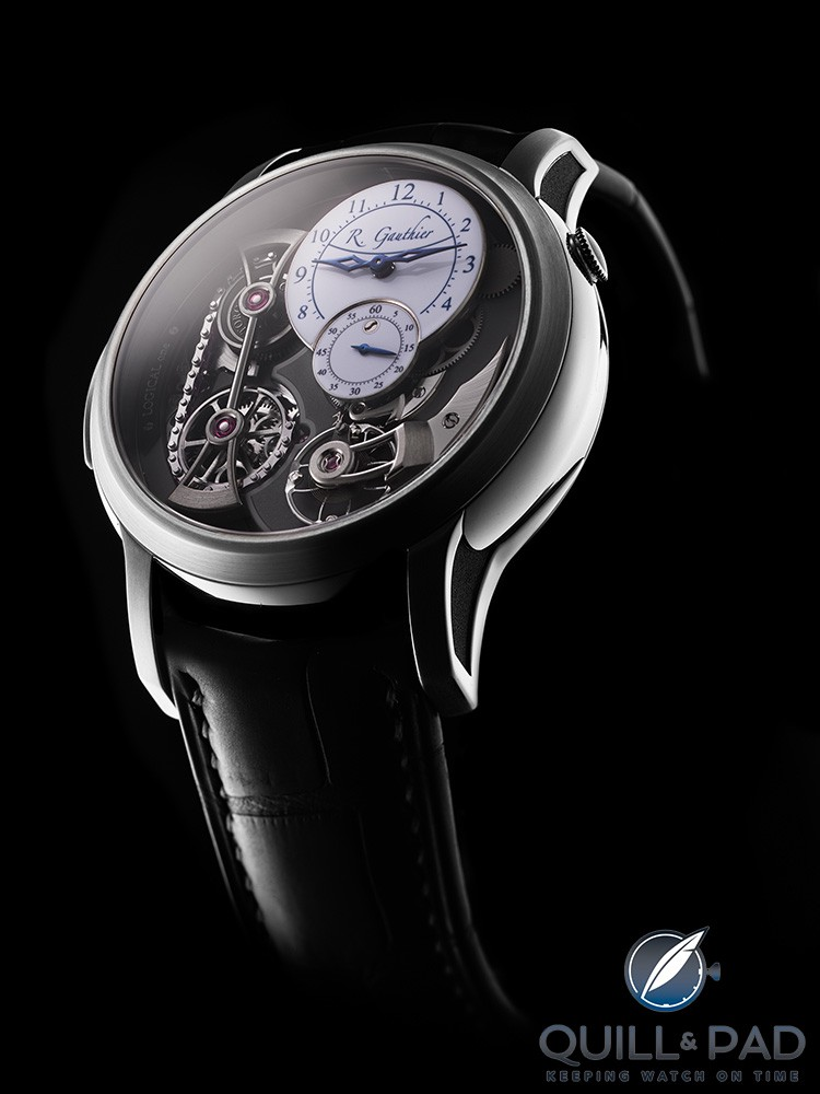Romain Gauthier Logical One in natural titanium with white fired-enamel dials