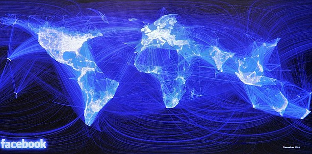 world map lit up in blue