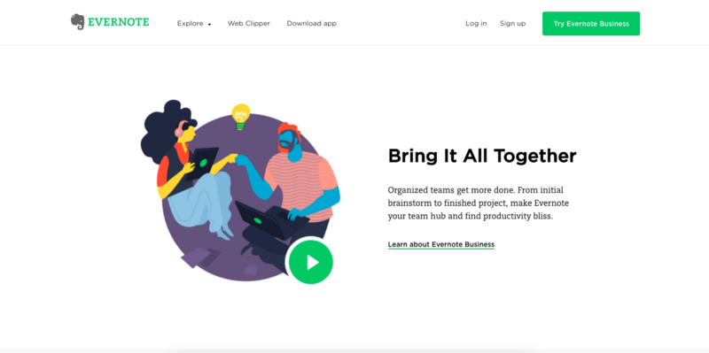 Evernote homepage illustrations
