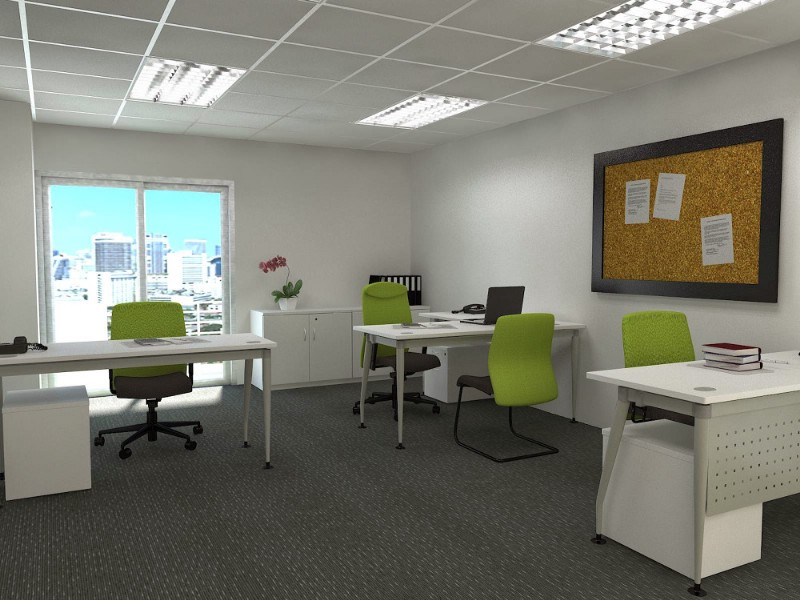 Our concept of small office setup with white color furniture