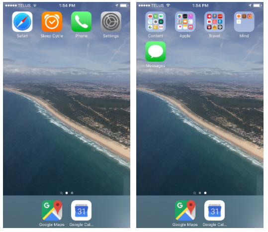 2 phone screens showing one with no apps, and one with lots of apps