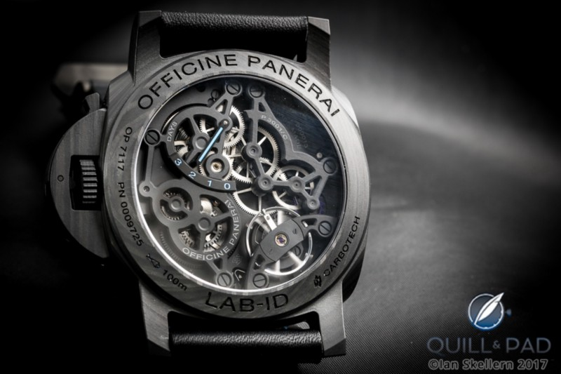 View through the display back of the Panerai Lab-ID Luminor 1950 Carbotech 3 Days