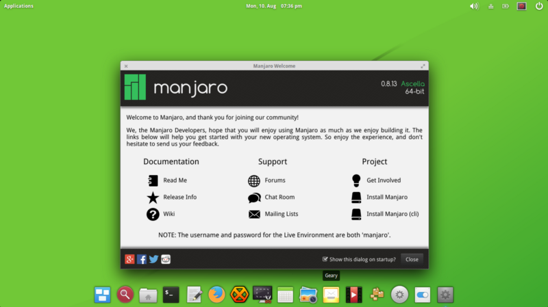 Pantheon running on Manjaro