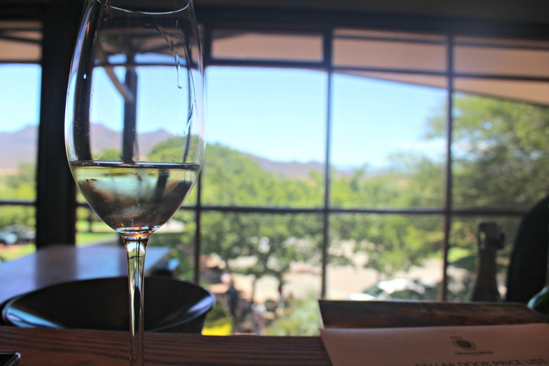 glass of bubbly at graham beck estate wine country south africa