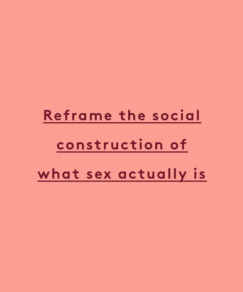reframe the social construction of what sex actually is