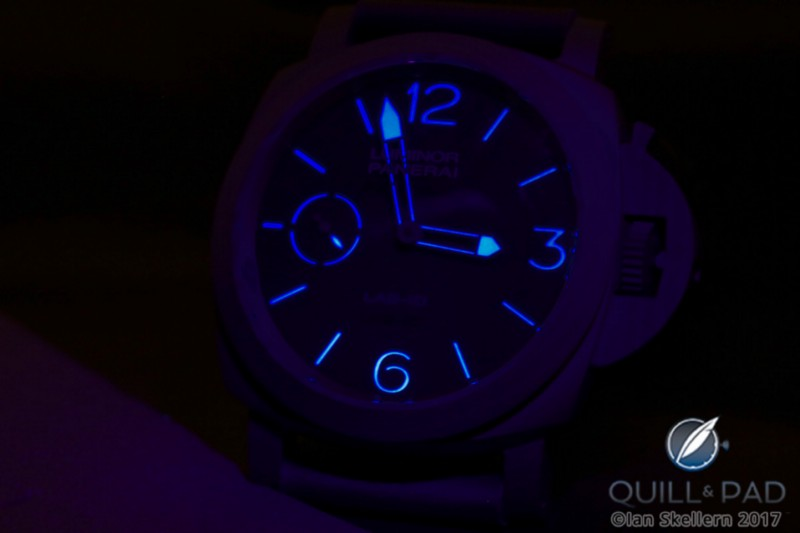 Panerai Lab-ID Luminor 1950 Carbotech 3 Days glowing blue when the lights go down
