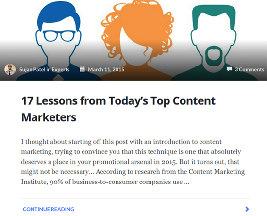 A screenshot of the author's blog post on lessons from content marketers