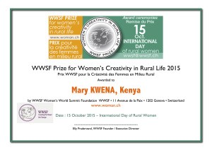 Mary Kwena Awarded 2015 Prize for Women's Creativity in Rural Life by the Women's World Summit Foundation