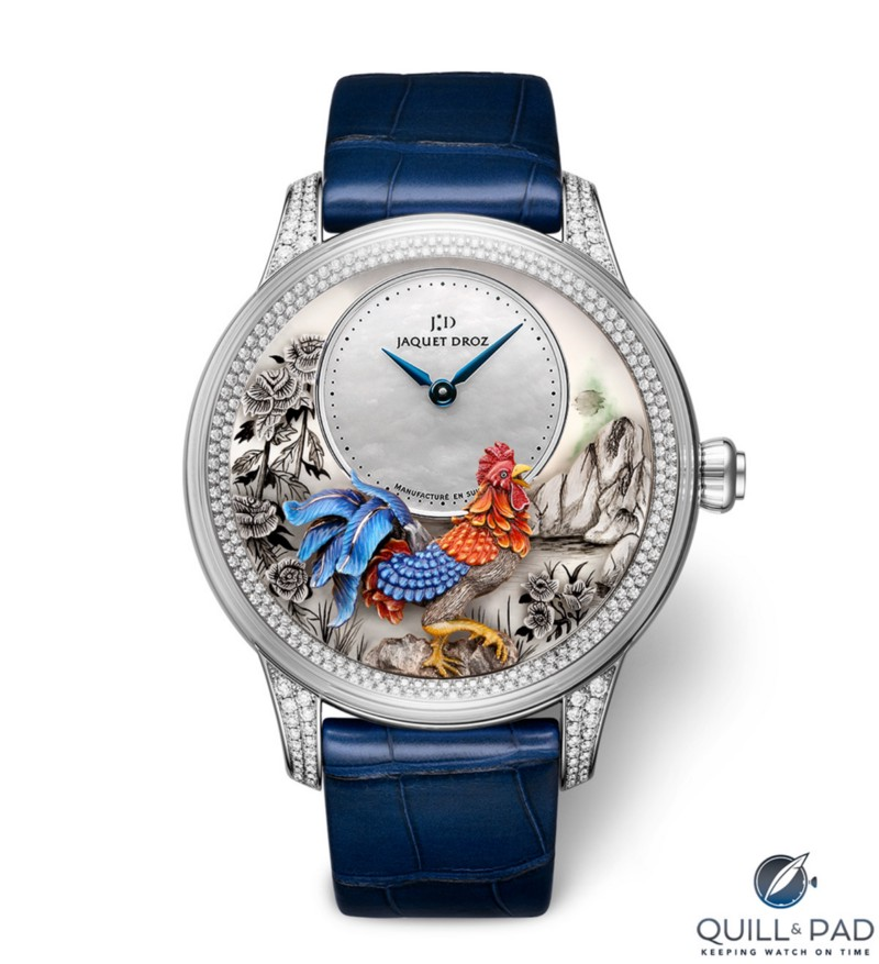 Jaquet Droz Petite Heure Minute Relief Rooster with diamond-set bezel