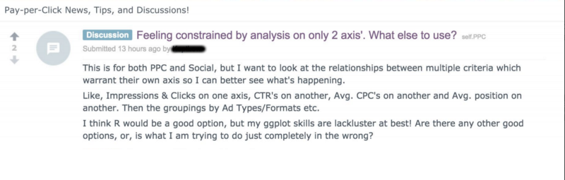 Snapshot of a comment from Reddit forums asking if PPC analysis is possible on more than 2 axes