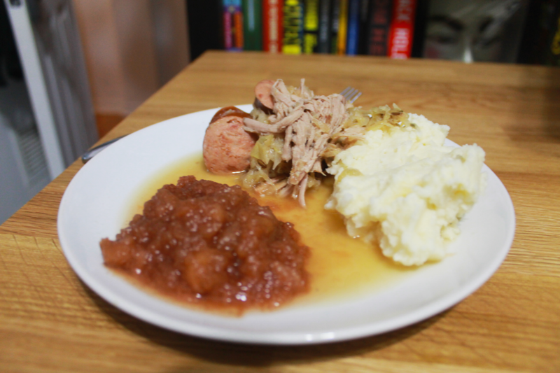 Pork Roast with Sauerkraut and Kielbasa with Homemade Applesauce