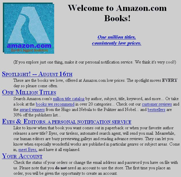 First Version of Amazon Website