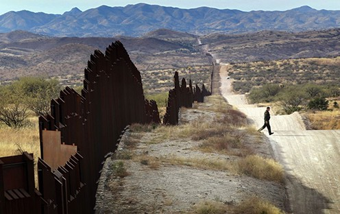 Walled frontier between mexico and the usa