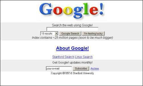 First Version of Google Website