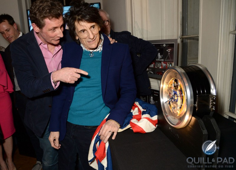 Ronnie Wood unveils the second Bremont B-1 clock featuring one of his hand-painted dials during the brand's Townhouse event as Nick English looks on (photo courtesy Richard Young)