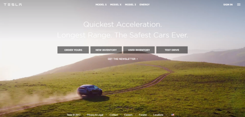 website tesla - Tendencias UX 2018_Adventures Digital Agency
