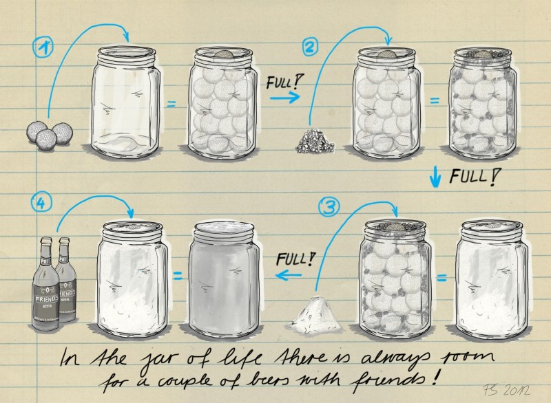 lesson of a jar filled with golf balls, pebbles, sand, and beer