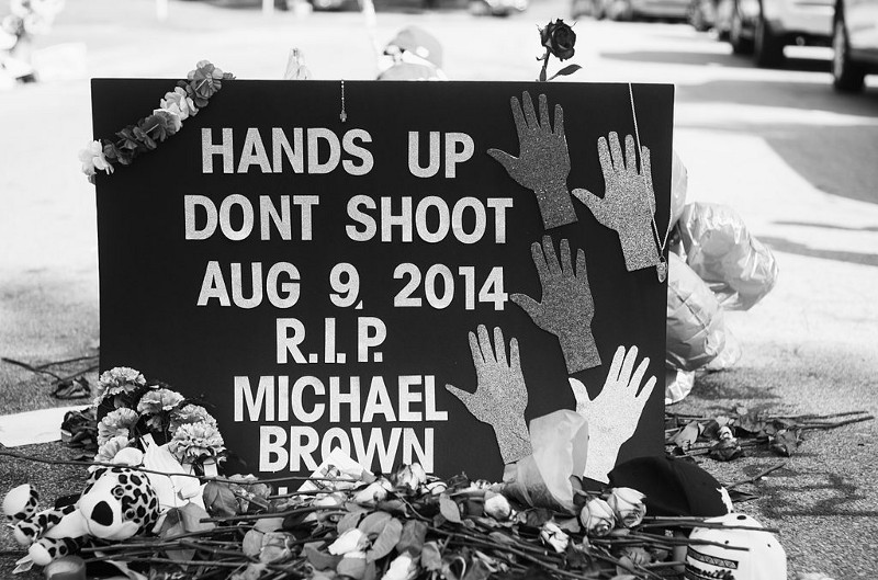 A makeshift memorial placed during protests -- photo by Jamelle Bouie via Wikipedia