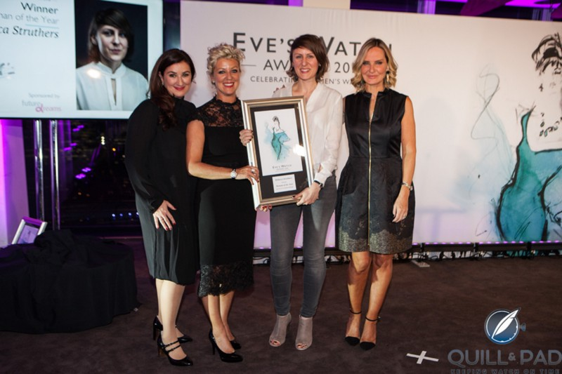 """Jane Trew, Larissa Trew, Rebecca Struthers, and emcee Jacquie Beltrao at the inaugural Eve's Watch awards in 2016, where Rebecca took home """"woman of year"""""""
