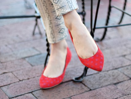 bright red pointy flats to highlight outfit for women