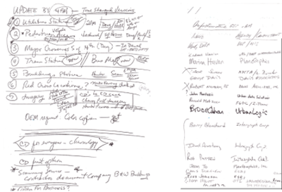 Handwritten notes and sign-in sheets from Department of Environmental Protection