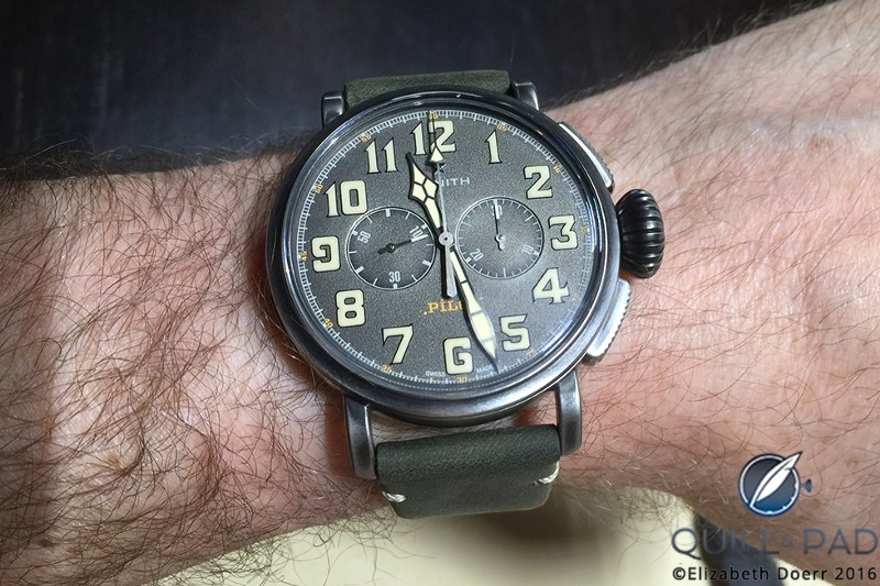 Zenith Heritage Pilot Café Racer, later renamed Pilot Ton Up, as modeled by Kiss drummer Eric Singer at Baselworld 2016
