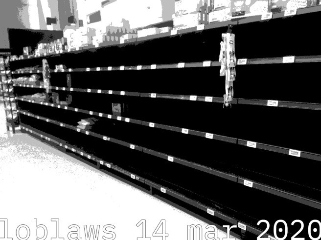 empty shelves in a Toronto Supermarket as a result of panic buying and supply chain disruptions