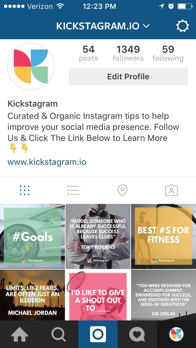 how to optimize your Instagram account - kickstagram.io homepage