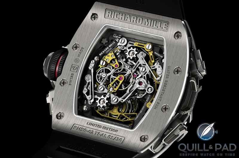 Back of the Richard Mille RM 50-02 Airbus ACJ Tourbilon Split-Seconds