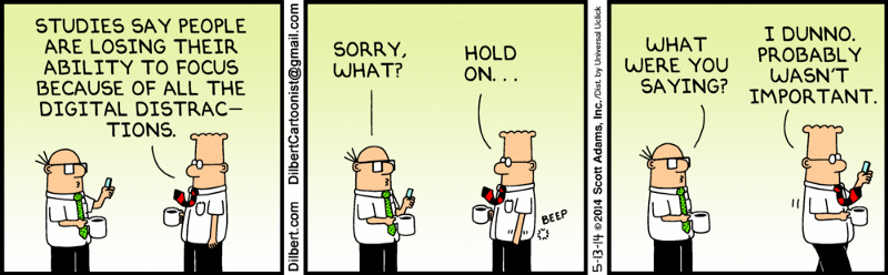 comic strip demonstrating distraction of cell phones