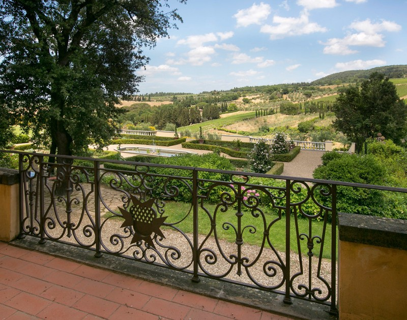 View from the manor house over the Tuscan landscape.