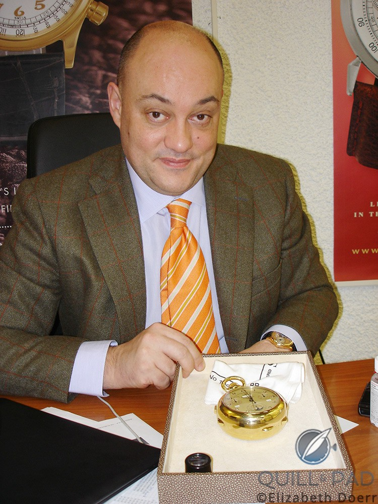 Then Antiquorum CEO William Rohr in 2009 with a Patek Philipe Caliber 89