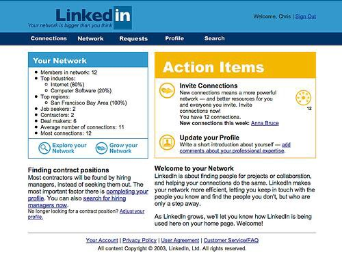First Version of Linkedin Website