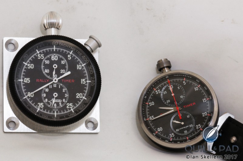 The original Minerva Rally Timer (left) and Montblanc Timewalker Chronograph Rally Timer Counter Limited Edition 100