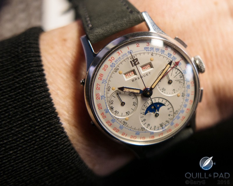 Breguet triple calendar chronograph Number 267 in steel on the author's wrist