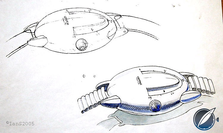 An early sketch by Martin Frei of what would become the Urwerk's first watch, the UR-101