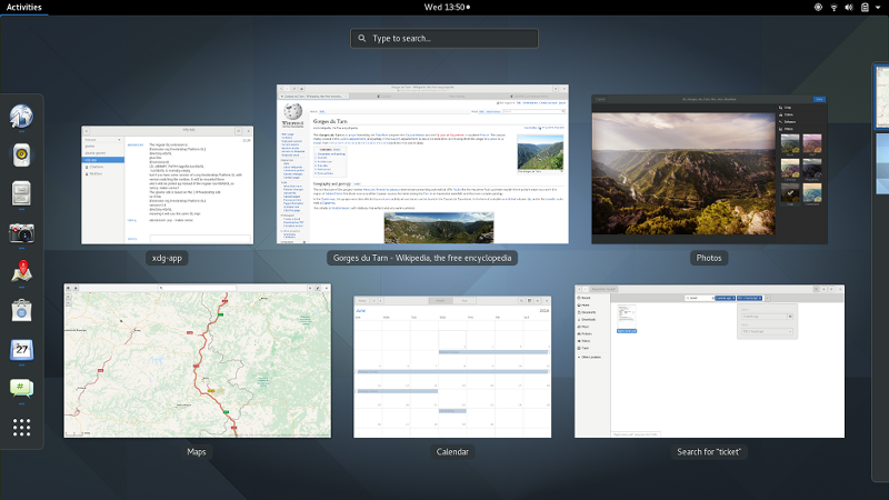 GNOME Shell'sOverview